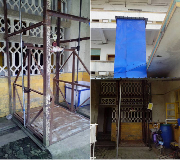 简易电梯分为很多种:个人自制的,施工人员安装的土电梯,液压升降货梯图片