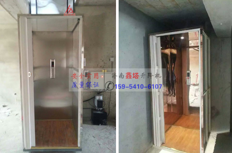 家庭载人专用升降机/ 升降平台是一种经济实用型小型载人电梯,采用液压系统,升降平稳,安全性强,对土建要求不高,安装方便,可按您的需要定制各种规格尺寸。了解更多,点击进入家用小型升降机和残疾人升降平台。  室内外安装家用小型电梯(常规型)  室内外安装小型电梯(外围封闭型) 标准的电梯最小井道净空尺寸1450x1450mm,250kg载重,乘坐三人。但是考虑还要制作井道结构、柱、墙,至少要考虑1600x1600mm的空间,不然放不下。  家用简易小型电梯(带轿厢款) 安装标准的电梯费用一般在10万元左右,电